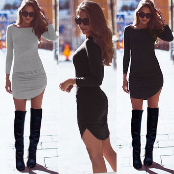 Tunic Slim Clubwear Side Split Tshirt Long Sleeve Mini Bodycon