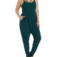 Plus Size Forest Green Strappy Jumpsuit by Charlotte Russe