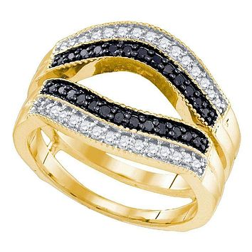 10kt Yellow Gold Women's Round Black Color Enhanced Diamond Ring Guard Wrap Solitaire Enhancer 1/2 Cttw - FREE Shipping (US/CAN)
