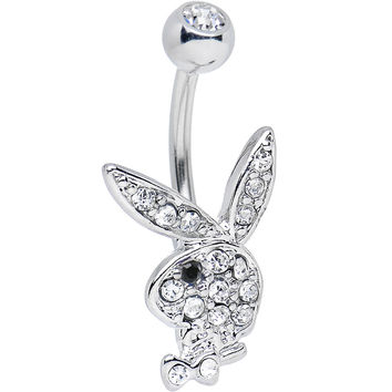 Licensed Clear Gem and Black Gem Eye Playboy Bunny Belly Ring