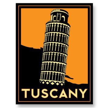 Tuscany Italy retro art deco travel poster Post Card from Zazzle.com