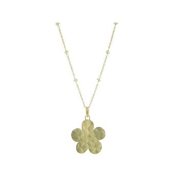 Hammered Gold Plated Sterling Silver Flower of Life & Peridot Stone Necklace, 16+1.5‰۝
