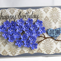 Happy Birthday, Blue Flowers, Handmade card, Greeting card,  flowers,Birthday, For a friend
