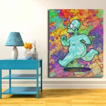 The Simpson Running HD Wallpaper Wall Art Canvas Nordic Posters Prints Painting Wall Pictures for Office Living Room Home Decor