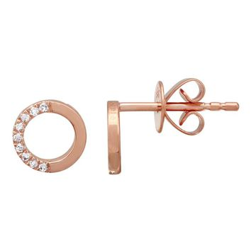 14 carat Rose Gold Small and Simple Round Diamond Stud Earrings for Girls and Ladies