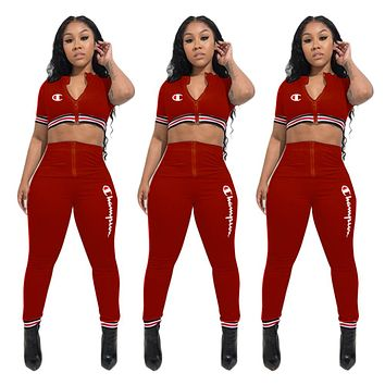 Champion Fashion New Embroidery Letter Sports Leisure Top And Pants Two Piece Suit Burgundy