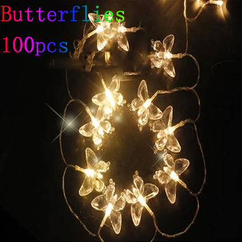 10m 100 LED Butterfly Light String Christmas Lights Wedding/Party Decoration Light Fairy Lamp Holiday Lighting