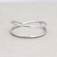 925 sterling silver Double cross ring