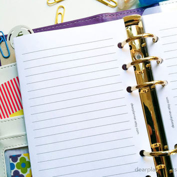 PRINTED Lined planner insert - Personal lined insert - Lined pages planner paper - Personal size planner refill - P08