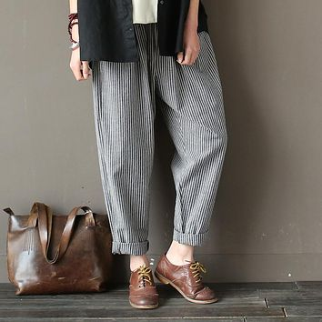 Johnature 2017 Spring Cotton Linen Women Pants Line Elastic Waist Vintage Loose Casual Striped Trouser