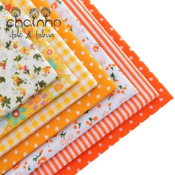 Thin Cotton Fabric Patchwork For Sewing Scrapbook Cloth Fat Quarters Tissue For Quilt Needlework Pattern 50*50cm Yellow 7pcs