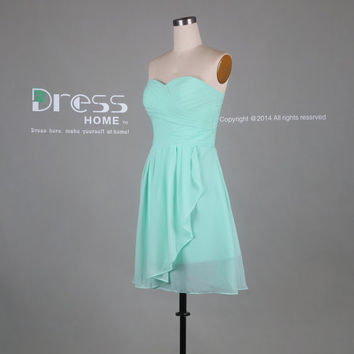 Mint Green Sweetheart Chiffon Knee Length Bridesmaid Dress/Cheap Simple Bridesmaid Dress/Short Wedding Party Dress/Mint Short Dress DH338