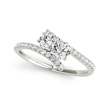 Two Stone Bypass Diamond Ring in 14K White Gold (3/4 ct. tw.)