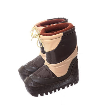 Vintage 80s Moon Boots 1980s Lasco New Wave Tan and Brown Unisex After Skiing Snowboard Party Apres Ski Snow Boots / Mens 7-8 / Womens 9-10
