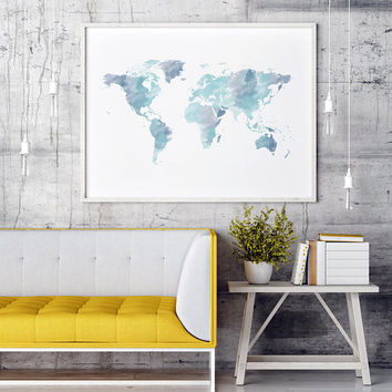World Map Watercolor World Map | Large World Map | World Map Poster | World Map Canvas | World Map Wall Art | World Map Print World Map