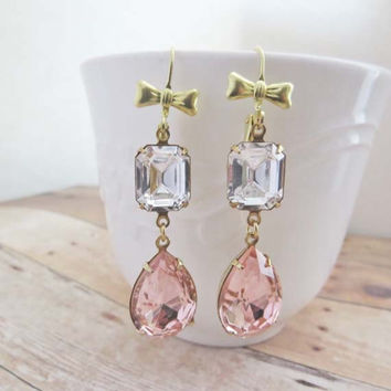 Pink Gold Earrings Rhinestone Bridal Earrings Wedding Jewelry Blush Peach Pink Earrings
