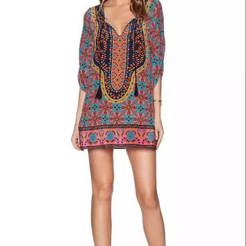 Print New Arrival Short Sleeve Summer One Piece Dress = 5826436737