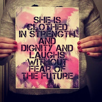 She is clothed in strength and dignity inspirational quote 8.5 x 11 inch art print for baby nursery, dorm room, or home decor