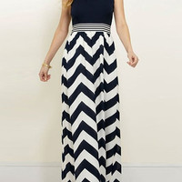 Halter Chevron Print Maxi Dress