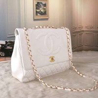 Chanel Women Shopping Leather Metal Chain Crossbody Satchel Shoulder Bag white H-LLBPFSH