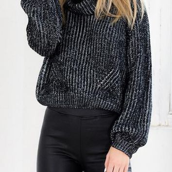 Womens Cropped Turtleneck Sweater - Gray Black / Black Ribbed Trim