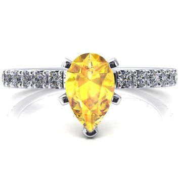 Nefili Pear Yellow Sapphire 5 Prong 3/4 Eternity Diamond French Pave Engagement Ring