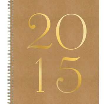 Sugar Paper Kraft Swiss Dot Weekly/monthly Planner 8.5x11 Gold Details 2015