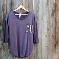 sequin pocket tunic top - plum