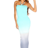 Blue Silver Strapless Two Tone Sexy Summer Maxi Dress