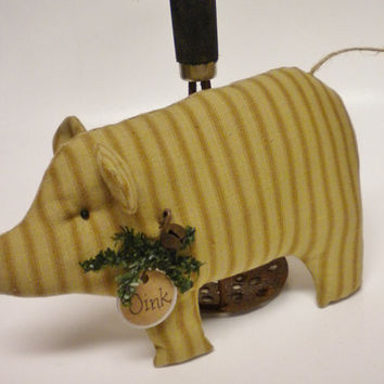 Pig, Ticking Fabric Piggy Pillow Tuck, Christmas Winter Pig Shelf Sitter Ornament