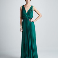 Halston Heritage Pleated Sleeveless Gown