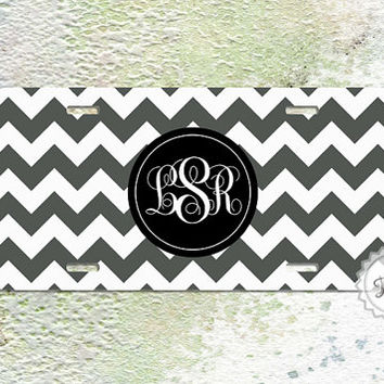 Personalized Charcoal  Chevron License Plate by ColorsAndFriends