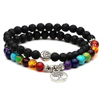 Domika 6mm Lava Rock Stone 7 Chakra Healing Crystal Beads Meditation Bracelet with Tree of Life Charm