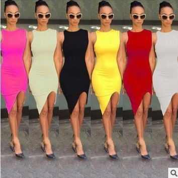 SEXY SOLID TANK BASIC SCOOP NECK RACERBACK RIBBED CASUAL MAXI WOMEN SUMMER DRESS
