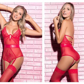 Mapale 7206 Teddy with Garter Straps Color Red