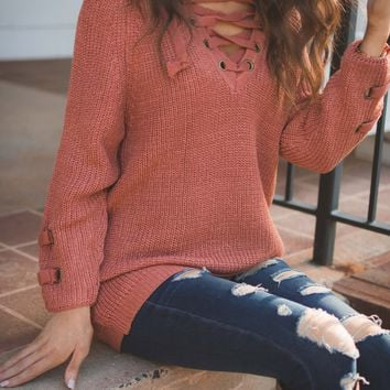 Marsala Cross Sweater