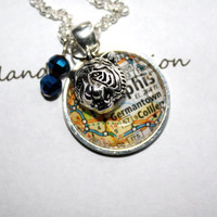 Memphis Tigers necklace, map of Memphis, TN under glass pendant with Tom Tiger and blue beads, University of Memphis, Go Tigers Go!