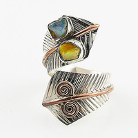 Ethiopian Opal Rough Sterling Silver Two Tone Spiral Adjustable Wrap Ring