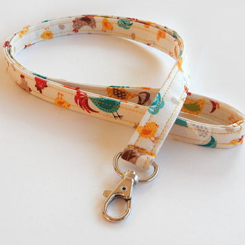 Chicken Lanyard / Chickens Keychain / Farm Animals / Key Lanyard / ID Badge Holder / Fabric Lanyard / Cute Lanyards / Gift Ideas