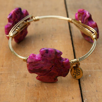 Bourbon and Boweties Bangle: Pink Cross Stone - Off the Racks Boutique