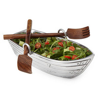 ROW BOAT SALAD BOWL WITH WOOD SERVING UTENSILS