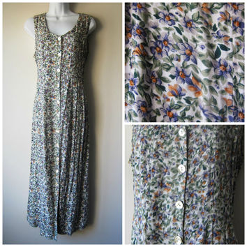 90s Floral Grunge Dress -- Sweet Country Floral Button Up Flowy Sundress -- Hipster Indie Festival Fashion