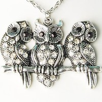 Vintage Inspired Alloy Tone Owl Perched Trio Group Band Cute Pendant Necklace