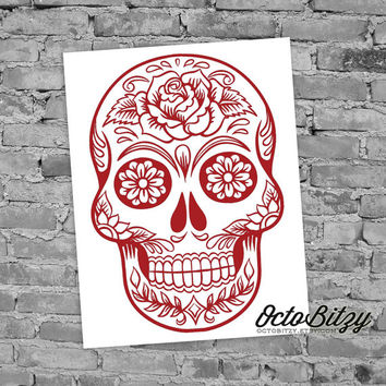 Sugar Skull, Dia de los Muertos, Day of the Dead, Decal Sticker