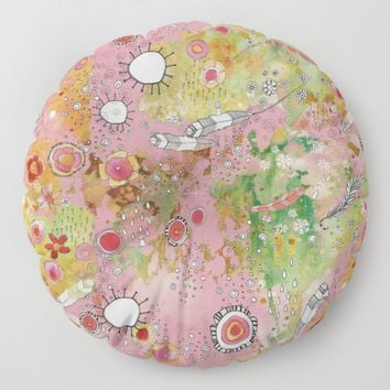 Floor / Meditation Cushion 'Feathers, Flowers Showers in pink'