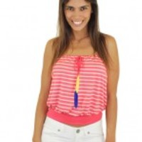 Coral Striped Strapless Top