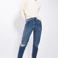 MOTO Dark Blue Ripped Mom Jeans | Topshop