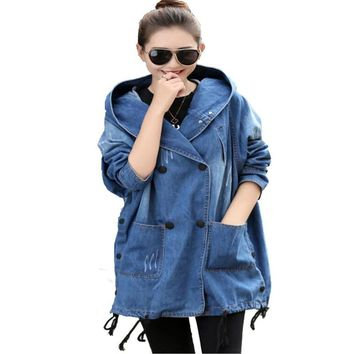 Spring Autumn Plus Size Denim Coat Women New Hooded loose ladies Long Denim Coats Popular Long Sleeve Back Printed Casual Trench