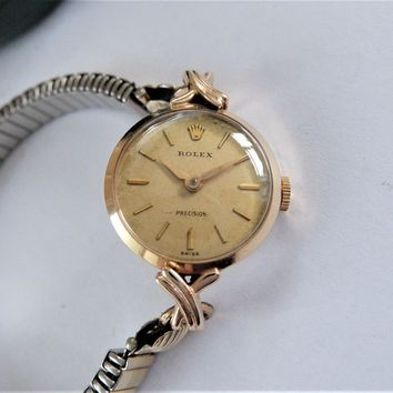 1960 ROLEX PRECISION 9K SOLID GOLD 17 JEWELLED WRIST WATCH IN WORKING ORDER
