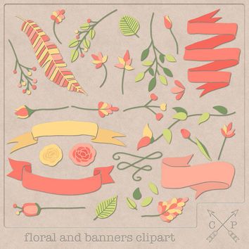 Hand drawn banners flowers floral laurel digital Clipart set 2 leafs feather ribbon clipart for logo design scrapbook wedding invites coral